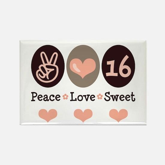 Peace Love Sweet Sixteen 16th Birthday Magnet