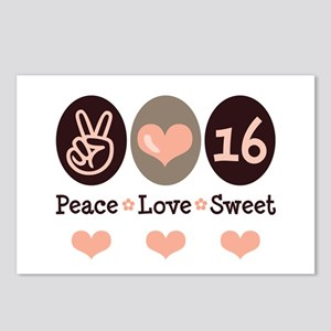 Peace Love Sweet Sixteen 16th Birthday 8 Postcards