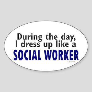 Dress Up Like A Social Worker Oval Sticker