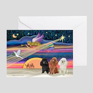 Xmas Star & Poodle trio Greeting Cards (Pk of