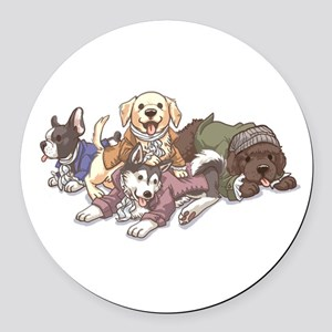 Hamilton Musical x Dogs Round Car Magnet