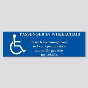 Passenger in Wheelchair 10x3 magnet Bumper Sticker