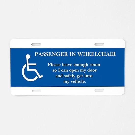 Passenger In Wheelchair Aluminum License Plate