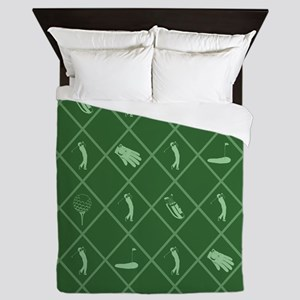 Golf Symbols Pattern Queen Duvet