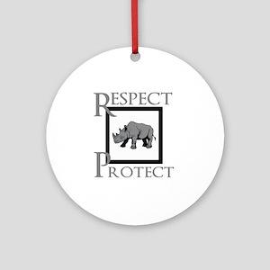 Protect Rhinos Round Ornament