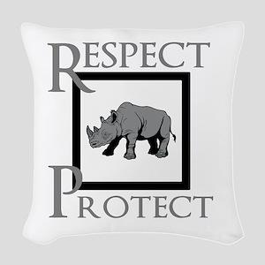 Protect Rhinos Woven Throw Pillow
