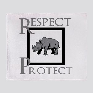 Protect Rhinos Throw Blanket