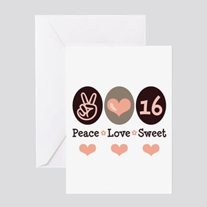 Peace Love Sweet Sixteen 16th Birthday Blank Card