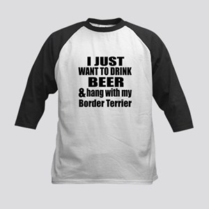 Hang With My Border Terrier Kids Baseball Jersey