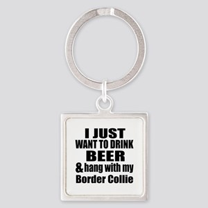 Hang With My Border Collie Square Keychain