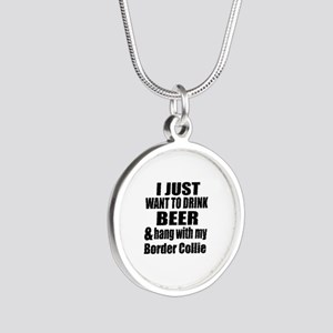 Hang With My Border Collie Silver Round Necklace