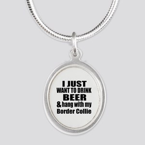 Hang With My Border Collie Silver Oval Necklace