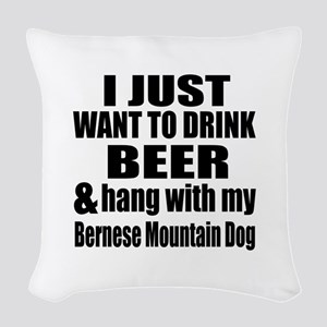 Hang With My Bernese Mountain Woven Throw Pillow