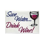 Save Water Drink Wine Rectangle Magnet (10 pack)