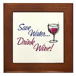 Save Water Drink Wine Framed Tile