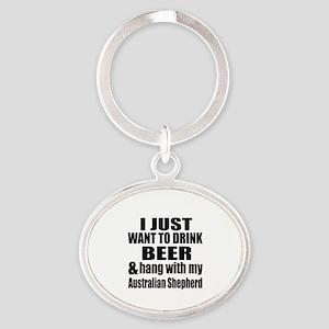 Hang With My Australian Shepherd Oval Keychain