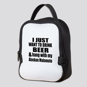 Hang With My Alaskan Malamute Neoprene Lunch Bag