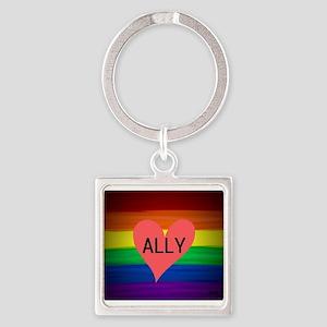 ALLY gay rainbow art Keychains