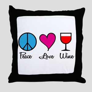 Peace Love Wine Throw Pillow