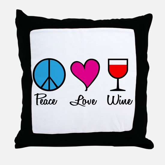Peace Love Wine Throw Pillow