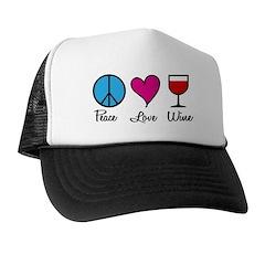 Peace Love Wine Trucker Hat