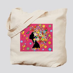 Hummingbird Kiss Floral Girl Tote Bag