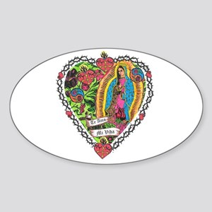 Guadalupe Heart Oval Sticker