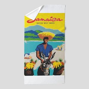 Jamaica Vintage Travel Poster Beach Towel