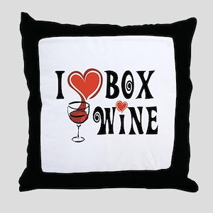 I Heart Box Wine Throw Pillow