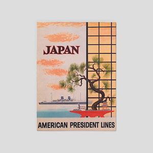 Japan, Bonsai Tree, Vintage Travel 5'x7'ar