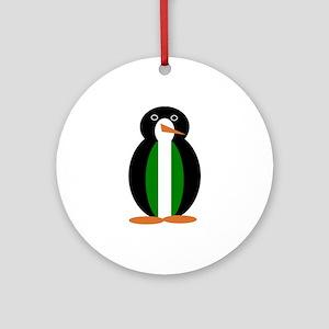 Penguin Flag Nigeria Round Ornament