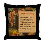 At Thanksgiving Poem Throw Pillow