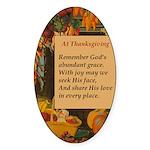 At Thanksgiving Poem Sticker (Oval)