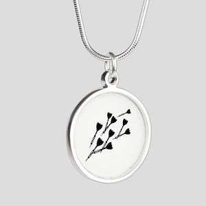 Darts sports Silver Round Necklace