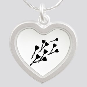 Darts sports Silver Heart Necklace