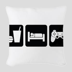 Eat Sleep Game Woven Throw Pillow