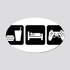 Eat Sleep Game 20x12 Oval Wall Decal