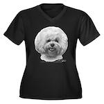 Bichon Frisé Women's Plus Size V-Neck Dark T-Shirt
