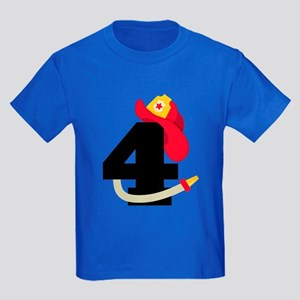 Fireman 4th Birthday Kids Dark T-Shirt
