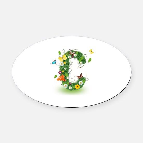 Monogram Letter C Oval Car Magnet