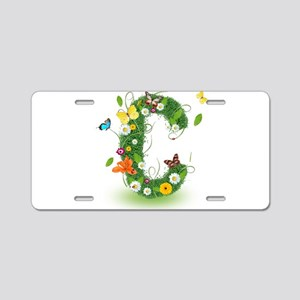 Monogram Letter C Aluminum License Plate