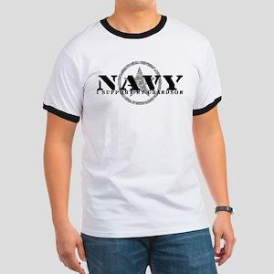 Navy - I Support My Grandson Ringer T