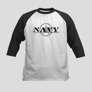 Navy - I Support My Grandson Kids Baseball Jersey