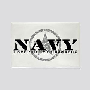Navy - I Support My Grandson Rectangle Magnet