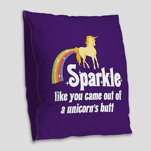 Unicorn Butt Burlap Throw Pillow