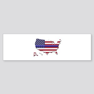 Thin Blue Line US Flag Bumper Sticker