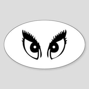 Girly Eyes Oval Sticker