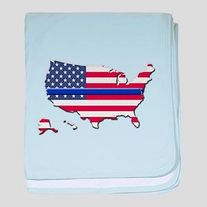 Thin Blue Line US Flag baby blanket