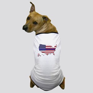 Thin Blue Line US Flag Dog T-Shirt
