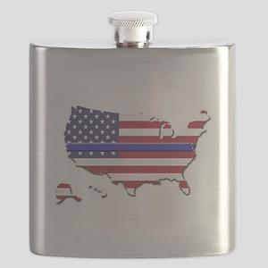 Thin Blue Line US Flag Flask